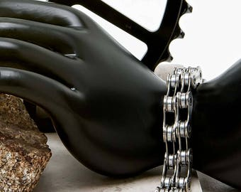 Double Wide Bicycle Chain Bracelet