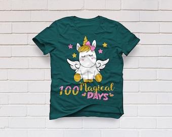Unicorn svg, 100 days svg, 100 magical days svg, 100th day of school svg, School svg, Teacher svg, svg for girl, SVG, DXF, eps, png, pdf