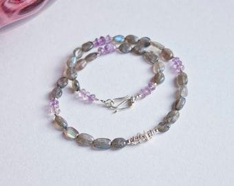 Gemstone Necklace Labradorite * Grey *