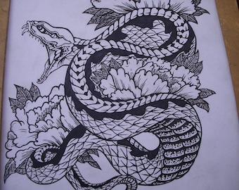 LotusSnake tattoo art framed