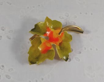 Vintage Autumn Leaf Brooch - Green Orange Yellow & Gold Tone