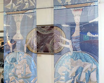 Custom Sheer Handpainted Curtains Panels Marine's histories Blue