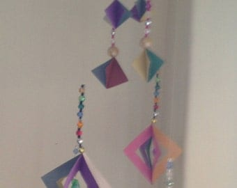 Colourful mobile - squares and diamonds