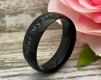 8mm Stainless Steel Ring, Men's Personalized Stainless Steel Wedding Band, Men's Black Wedding Band, Black Stainless Steel Ring, SHJSSR001