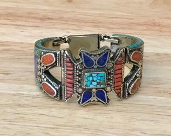 Elegant Turquoise Coral Lapis Lazuli Cuff Bracelet