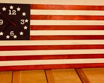 US Old Glory wooden flag with Quartz clock