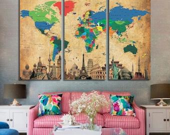 Large World Map Etsy - Large world map