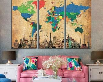 Push Pin World Map, Extra Large World Map, Canvas Print, Push Pin Travel Map, Rustic World Map, Wall Hanging, World Map Canvas Set