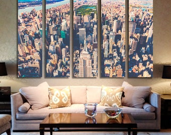 Midtown Manhattan, NYC Skyline Aerial View Canvas Print - 5 Panel Split New York City Photography for Wall Decor and Interior Design