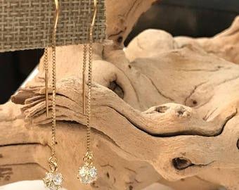 Crystal drop Threader Earrings