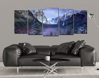 Yosemite Canvas Wall Art,  El Capitan Mountain National Park Snowy Snow Half Dome Covered Print California Range, 5 Panel Large Set