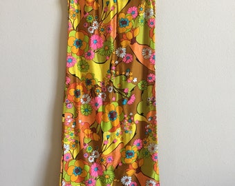 1960s psychedelic floral maxi dress