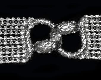 Vintage Silver Snake Heads Applique with Rhinestones on Chain Strands