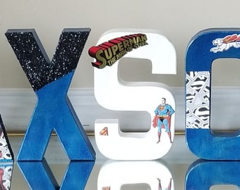 Custom Kids SUPERMAN Themed Paper Mache Letters Whie Red Blue Metallic Black Glitter ROOM DECOR Party Decor Baby Shower