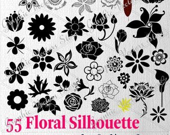 Handmade floral silhouette etsy 55 floral silhouette svg lotus flower trees silhouettefiles for silhouette files mightylinksfo Gallery