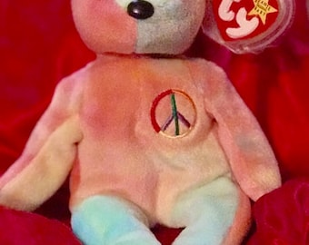 Rare TY Beanie Baby-Peace Bear-Multiple-ERRORS-Retired