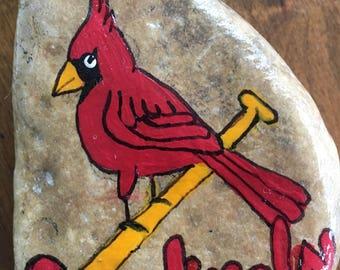 St. Louis Cardinals painted rock