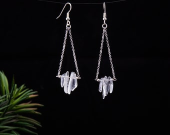 Fallen Crystals - Delicate and elegant, boho, city, minimalist crystal earrings