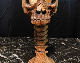 Handcarved Wood Skull Candle Holder