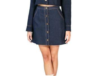 Redesigned Vintage Graff Californiawear Denim Cold Shoulder Skirt Set (2 Pieces)