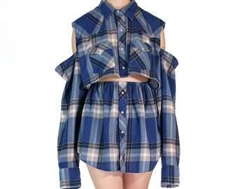 Redesigned Vintage Youngbloods Western Flannel Menswear Cold Shoulder Skirt Set (2 Pieces)