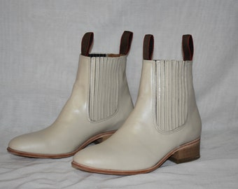 White cowboy boots, low cut, hand made leather