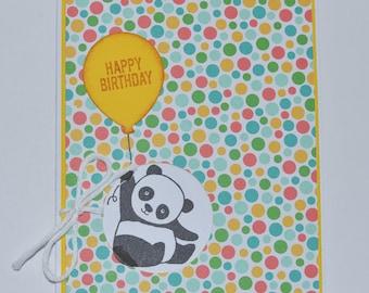 Hand Stamped Panda Birthday Card