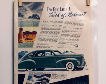 Nash Car Ad | Antique Car | Gift for Car Lovers | Old Cars | Vintage Ads | Retro Car Ads |