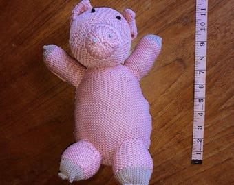 cute hand knitted toy pig