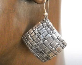 Square Woven Dangle Fine Silver Earrings (Precious Metal Clay) KHE1538 with Sterling French Ear Wires