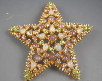 Star Shaped Vintage Costume Pin Brooch with Amethyst, Peridot, Opal Colored Crystal Rhinestones
