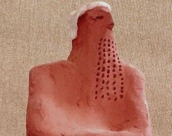 TIGLATH-PILESER (Small Figure),Figurative ceramic sculpture,Israeli art,Fine Art Ceramics,Biblical figure,ancient king,archaeological art