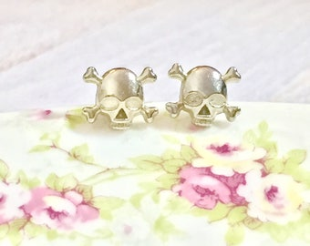 Small Metal Skull and Cross Bones Stud Earrings with Surgical Steel Posts for Aaargh Pirates, Halloween or Day of the Dead