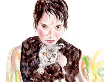 Watercolor Portrait, Girl with cat, stranger art, portrait of girl, original watercolor painting, Winona Ryder