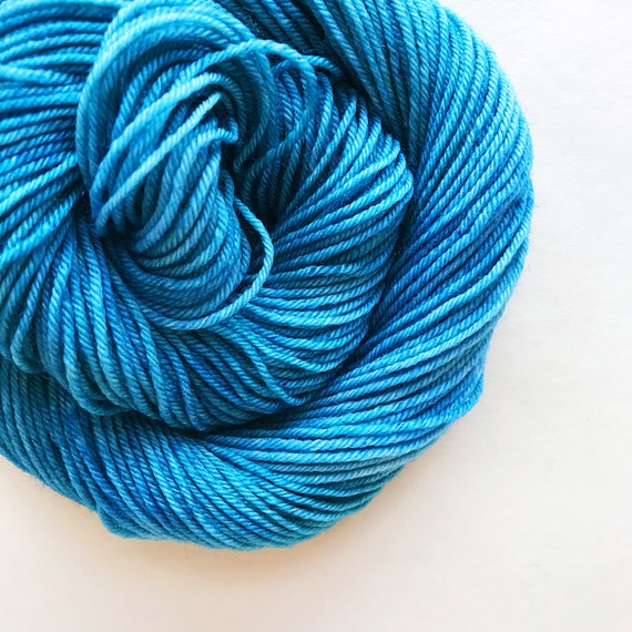 BREEZE hand dyed yarn fingering sock dk bulky yarn super wash merino wool yarn single or ply. choose your base. pale sea blue yarn