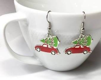 Adorable Red Car w Christmas tree earrings. VW Bug style car w christmas tree. Clip-on's available. Christmas Gifts, Gift for Her