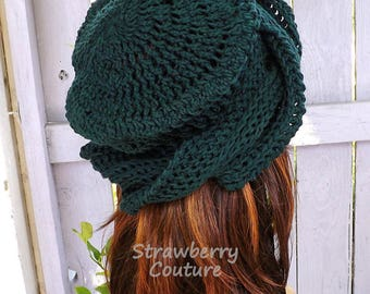 Crochet Hat Womens Hat Trendy, Crochet Beanie Hat, 50th Birthday Gift for Women,  Forest Green Hat, Samantha Crochet Womens Turban Hat