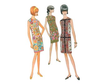 60s uncut Sheath Dress Pattern Flower Power Dress vintage 34-26-36 Shift Dress pattern Cocktail Dress pattern Bust 34 Simplicity 8720