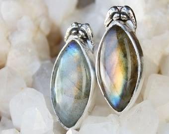 Labradorite Earrings, sterling silver labradorite jewelry, large gemstone earrings, semi precious stone earrings, gift for wife girlfriend