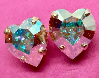 Large Heart Shaped Pastel Rainbow Mega Sparkly Crystal Post Earrings - 14x15mm Aurora Borealis AB Finish, Unicorn Fashion RARE Large Size