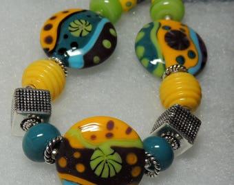 EASY BREEZY Handmade Lampwork Bead Bracelet