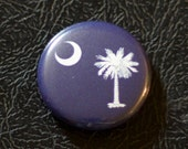 "1"" South Carolina flag button, state, pin, badge, pinback"