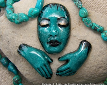 Goddess Face Cab & Hands Set of 3 cabochons Hand Painted Turquoise Pearl and Black Polymer Clay