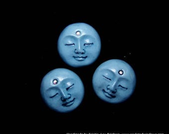 Set of 3 Tiny Moon face Cabs  Hand Painted Polymer Clay Face Cabochons Blue