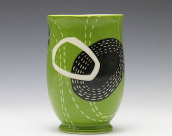 Grass Green Black and White Porcelain Juice Wine Cup