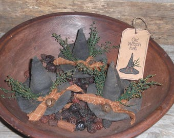 Set of 3 Primitive Grungy Halloween Old Witch Black Hats Bowl Fillers Ornies Ornaments Shelf Sitters Tucks