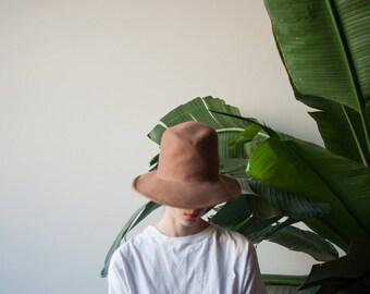 wool felt high crown hat / camel felt hat / 931a