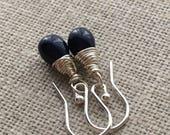 Dark Blue Petite Teardrop Sterling Silver Earrings. Small Opaque Blue Drop Earrings. Briolette Earrings. Wire Wrapped Earrings. Gift For Her