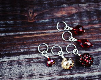 Blood & Sand - Swarovski Crystals - Knit/Knitting or Crochet/Crocheting - Stitch Markers or Place Holders - Set of 5