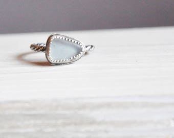 White Sea Glass Ring / Modern Jewelry